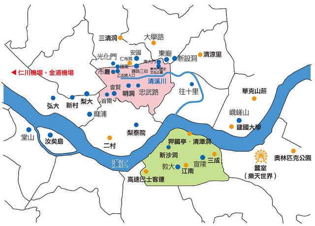 首爾住宿,各區地圖