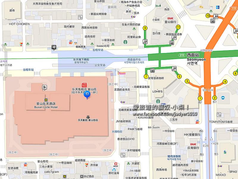 釜山西面地圖