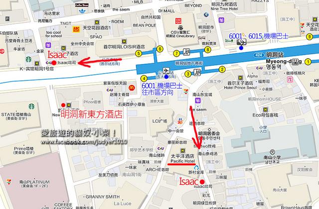 明洞住宿-新東方酒店位置地圖