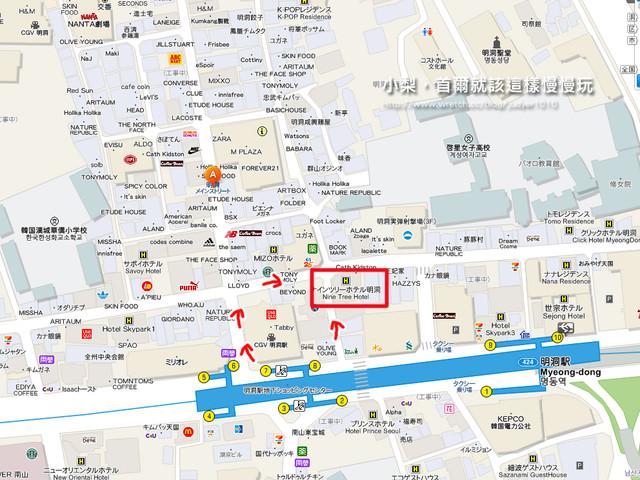 明洞住宿-九樹飯店地圖