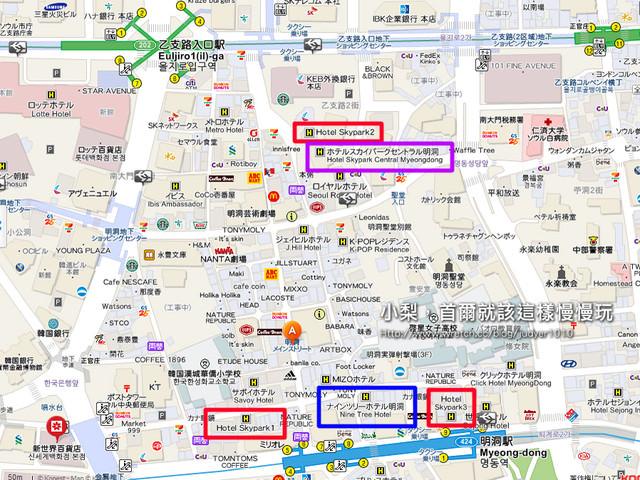 明洞站、乙支路入口站跟飯店的位置圖