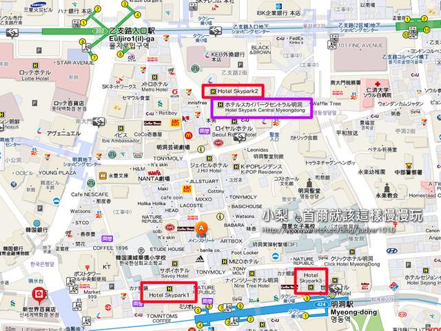 明洞住宿-SKYPARK系列飯店位置地圖