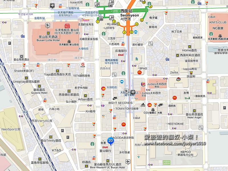 釜山西面店地圖